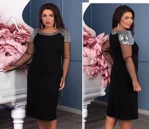 Платье короткое нарядное черное Ф8573