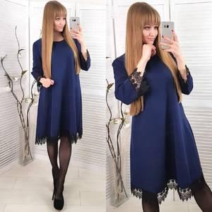 Платье короткое нарядное синее Ф8576