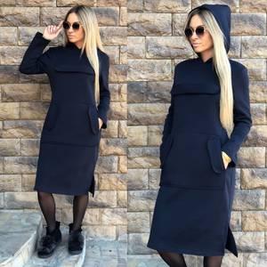 Платье короткое синее теплое Ф0901