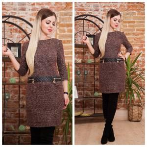 Платье короткое трикотажное теплое Ф2071