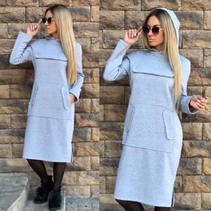Платье короткое однотонное теплое Ф0902