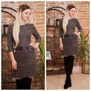 Платье короткое трикотажное теплое Ф2072