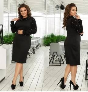 Платье короткое вечернее черное Ф5080
