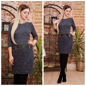Платье короткое трикотажное теплое Ф2073