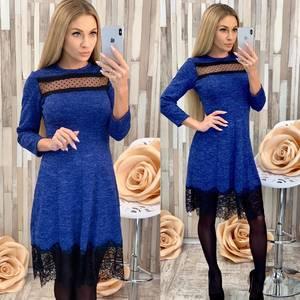 Платье короткое нарядное синее Ф7020