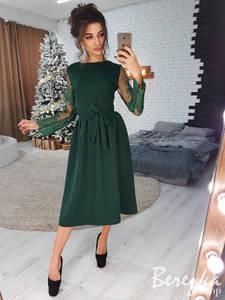 Платье нарядное с длинным рукавом элегантное Ш9166
