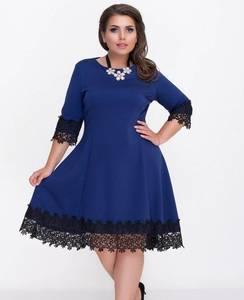 Платье короткое нарядное синее Ф0799