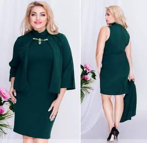 Платье короткое нарядное зеленое Ф0962