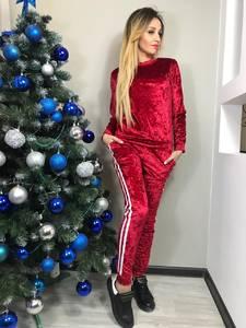 Костюм брючный модный красный Ф8922