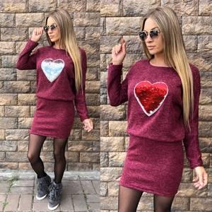 Платье короткое трикотажное с длинным рукавом У9274