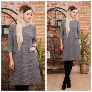 Платье короткое трикотажное теплое Ф2070