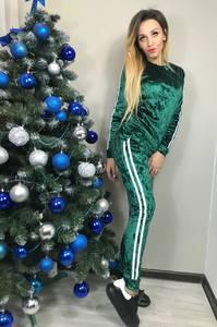 Костюм брючный модный зеленый Ф8919