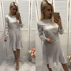 Платье короткое с длинным рукавом белое Ф3732