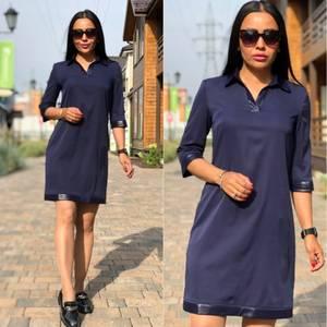 Платье короткое с рукавом 3/4 синее Ф3742