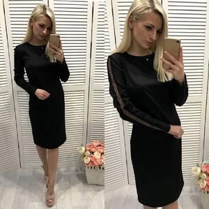 Платье короткое вечернее с длинным рукавом Ф3729