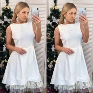 Платье короткое нарядное белое Ф6538