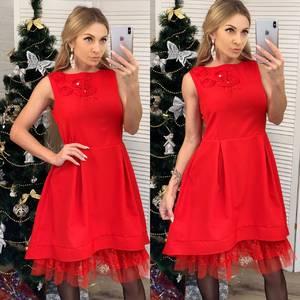 Платье короткое нарядное красное Ф6535