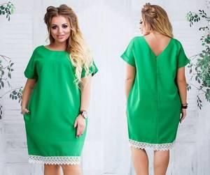 Платье короткое зеленое с кружевом Т7371