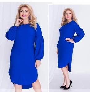 Платье короткое с длинным рукавом синее Ф0330