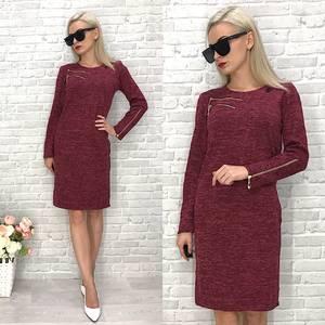 Платье  короткое трикотажное однотонное У1433