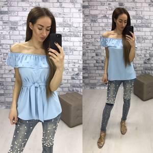 Блуза  летняя голубая У1609