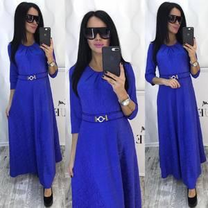 Платье длинное однотонное нарядное Ф8786