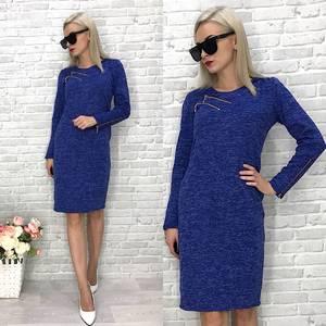 Платье  короткое трикотажное однотонное У1434