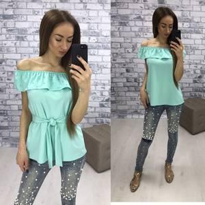 Блуза  летняя голубая У1610