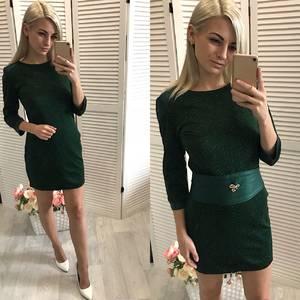 Платье  короткое трикотажное однотонное У1436