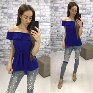 Блуза  летняя синяя У1612