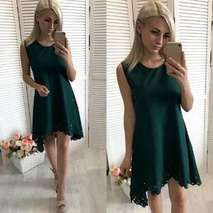 Платье  короткое вечернее однотонное У1442
