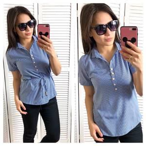 Блуза синяя для офиса Т1453