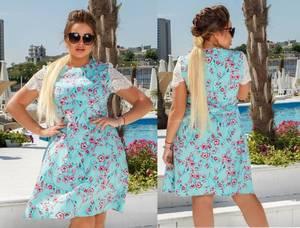 Платье короткое нарядное с кружевом Х8693
