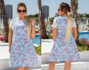 Платье короткое нарядное с кружевом Х8694
