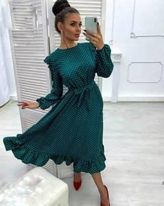 Платье коктейльное нарядное с длинным рукавом современное Ш9142