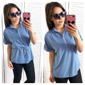 Блуза синяя для офиса Т1454