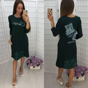 Платье короткое повседневное с принтом Ф1373