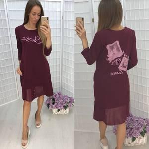 Платье короткое повседневное с принтом Ф1374