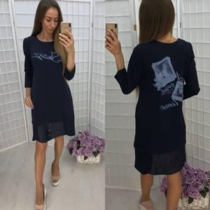 Платье короткое повседневное с принтом Ф1375
