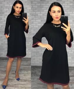 Платье короткое вечернее черное Ф1518