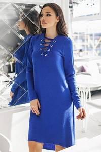 Платье короткое однотонное синее Ф3757
