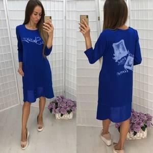 Платье короткое повседневное с принтом Ф1376