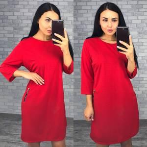 Платье короткое офисное красное Ф2467