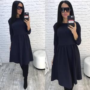 Платье короткое с рукавом 3/4 синее Ф2441