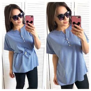 Блуза синяя для офиса Т1455