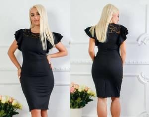 Платье короткое нарядное черное Х1414