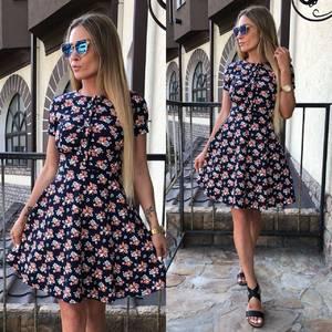 Платье короткое с принтом летнее У9048