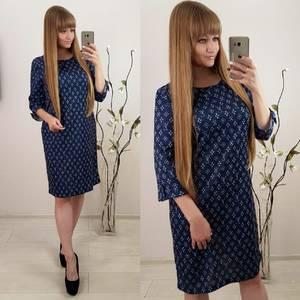 Платье короткое синее с принтом Ф3073