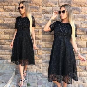 Платье короткое коктейльное черное Т9764