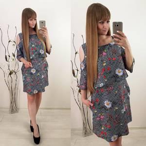 Платье короткое с принтом летнее Т9916